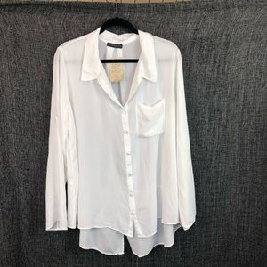 T-Party White Rayon Flowy Shirt Large
